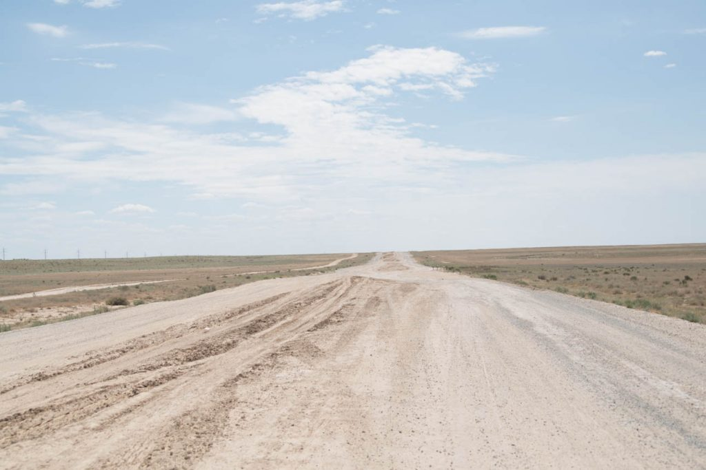 The road between Kazakhstan and Uzbekistan.