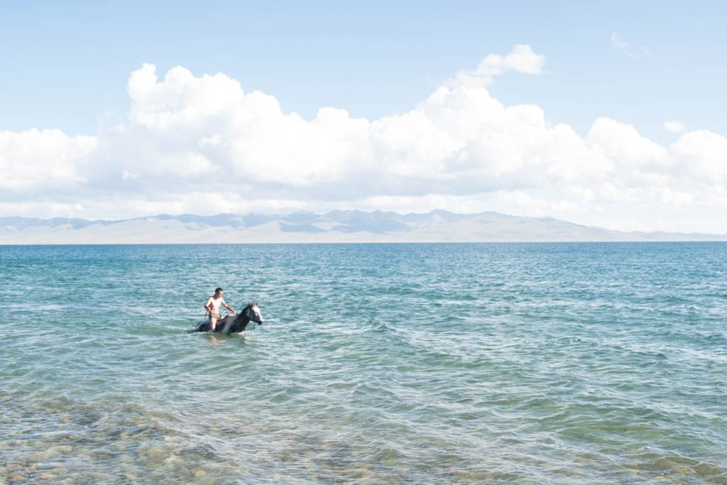 Another horse-dream I didn't even know I had before: Going swimming with our horses in lake Son Kul.