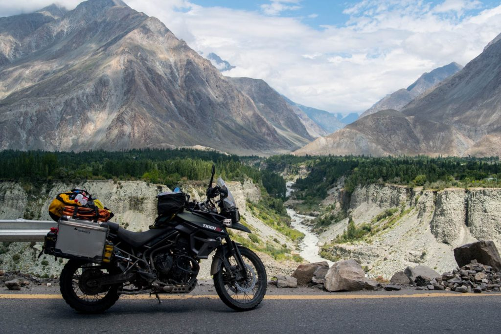 Perfect asphalt and breathtaking views on Karakorum Highway.